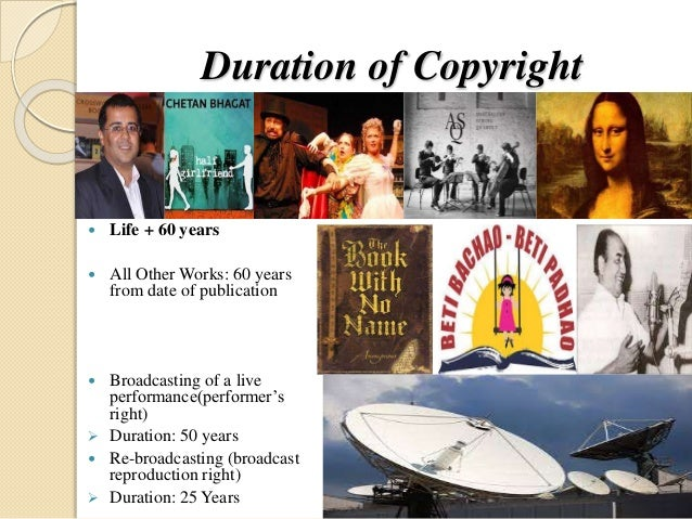 Duration of Copyright  Life + 60 years  All Other Works: 60 years from date of publication  Broadcasting of a live perf...