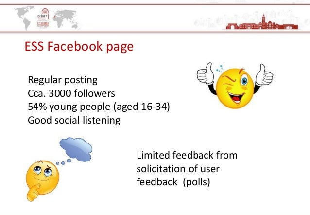 ESS Facebook page Regular posting Cca. 3000 followers 54% young people (aged 16-34) Good social listening Limited feedback...