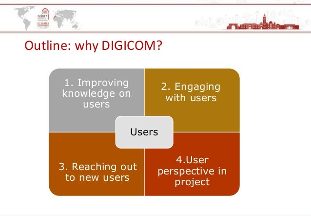 Outline: why DIGICOM? 1. Improving knowledge on users 2. Engaging with users 3. Reaching out to new users 4.User perspecti...