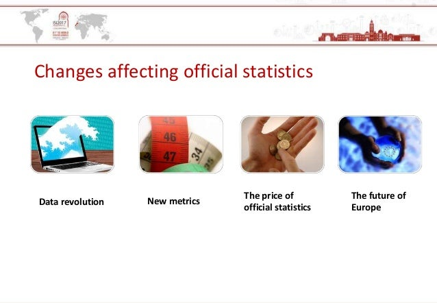 Changes affecting official statistics Data revolution New metrics The price of official statistics The future of Europe