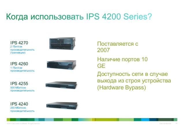 © 2011 Cisco and/or its affiliates. All rights reserved. Cisco Confidential 36 Наличие портов 10 GE Доступность сети в слу...