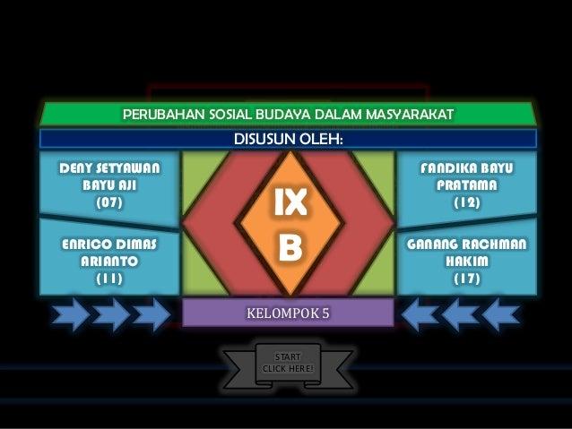 "WE PRESENT ""PERUBAHAN SOSIAL BUDAYA DALAM MASYARAKAT"" THIS PRESENTATION IS CREATED BY: DENY SETYAWAN BAYU AJI ENRICO DIMAS..."