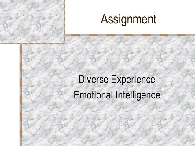 Assignment Diverse ExperienceEmotional Intelligence