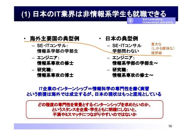 (1) 日本のIT業界は非情報系学生も就職できる • 海外主要国の典型例 – SE・ITコンサル: 情報系学部の学部生 – エンジニア: 情報系専攻の修士 – 研究職: 情報系専攻の博士 • 日本の典型例 – SE・ITコンサル 学部問わない ...