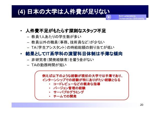 (4) 日本の大学は人件費が足りない • 人件費不足がもたらす深刻なスタッフ不足 – 教員1人あたりの学生数が多い – 教員以外の職員(事務、技術員など)が少ない – TA(学生アシスタント)の時給総額の割り当てが低い • 結果としてIT系学科...