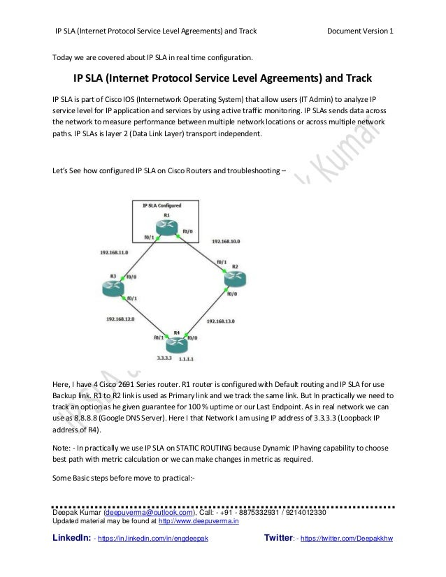 ip sla internet protocol service level agreements and track document version 1 deepak kumar
