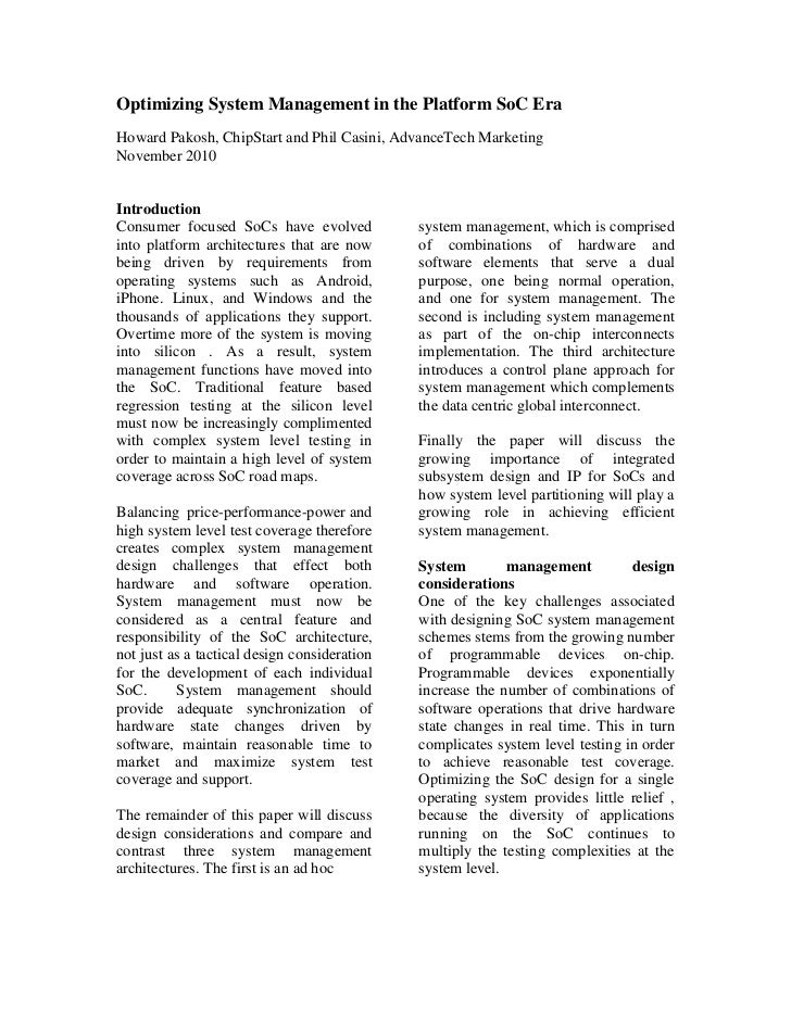 Optimizing System Management in the Platform SoC EraHoward Pakosh, ChipStart and Phil Casini, AdvanceTech MarketingNovembe...
