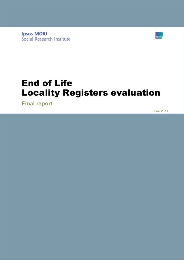 End of Life Locality Registers evaluation Final report June 2011