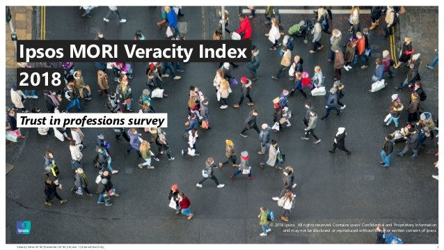 Veracity Index 2018 | November 2018 | Version 1 | Internal Use Only © 2016 Ipsos. All rights reserved. Contains Ipsos' Con...