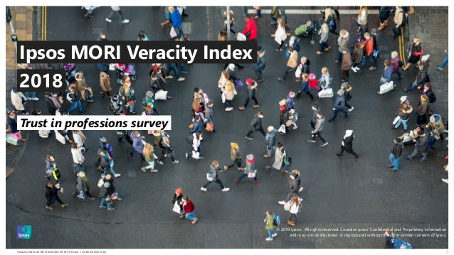 Veracity Index 2018   November 2018   Version 1   Internal Use Only © 2016 Ipsos. All rights reserved. Contains Ipsos' Con...