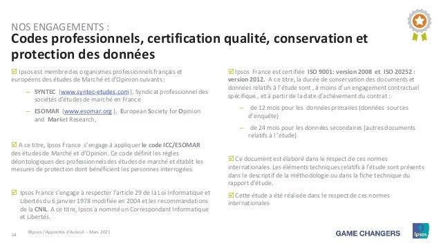 14  Ipsos est membre des organismes professionnels français et européens des études de Marché et d'Opinion suivants : – S...