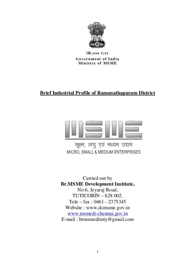 lR;eso t;rs               Government of India                Ministry of MSMEBrief Industrial Profile of Ramanathapuram Di...