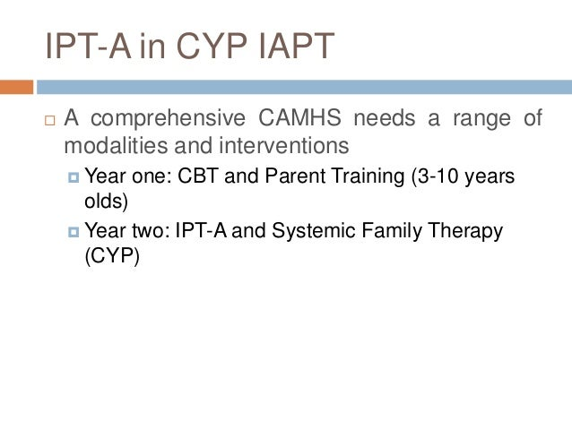 a case of ipt Interpersonal therapy, or ipt, is a short-term, focused treatment for depression studies have shown that ipt, which addresses interpersonal issues, may be at least as effective as short-term treatment with antidepressants for mild to moderate forms of clinical depression originally developed to.