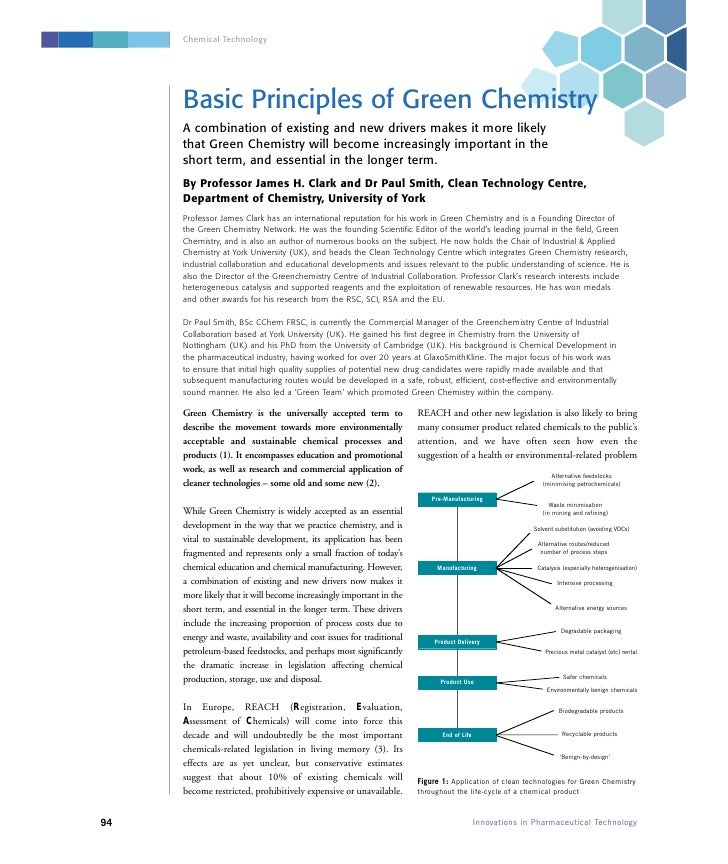 Chemical Technology          Basic Principles of Green Chemistry      A combination of existing and new drivers makes it m...