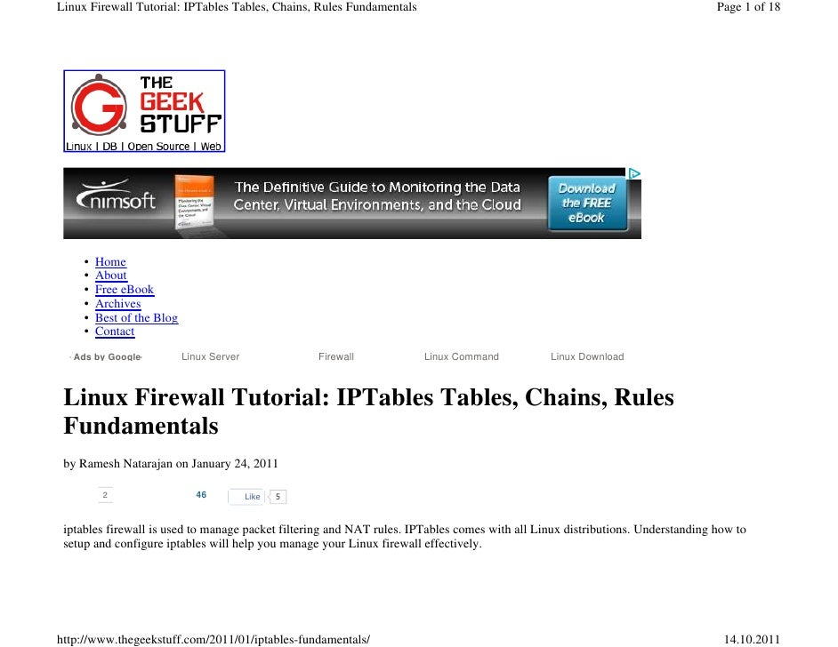 Linux Firewall Tutorial: IPTables Tables, Chains, Rules Fundamentals                                                      ...