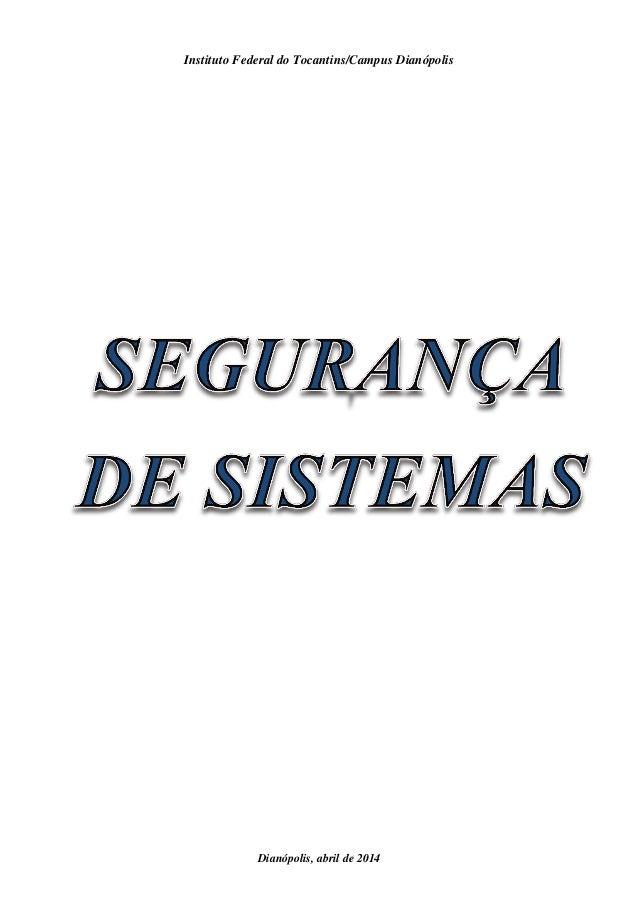 Instituto Federal do Tocantins/Campus Dianópolis Dianópolis, abril de 2014