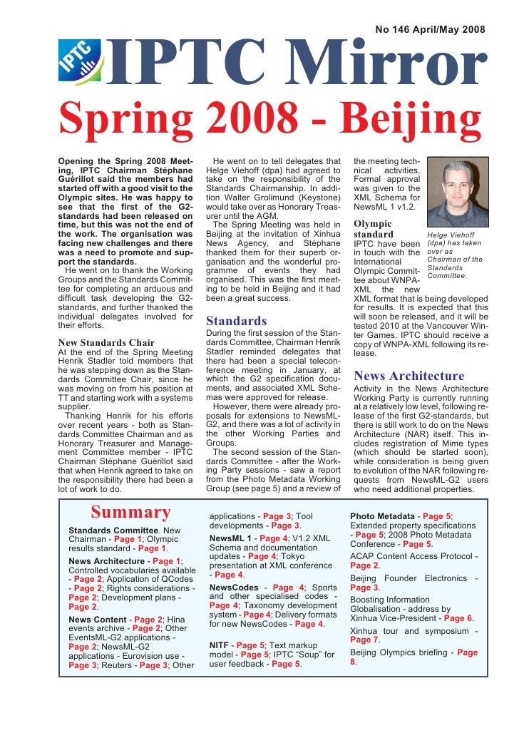 IPTC Mirror                                                                                       No 146 April/May 2008   ...