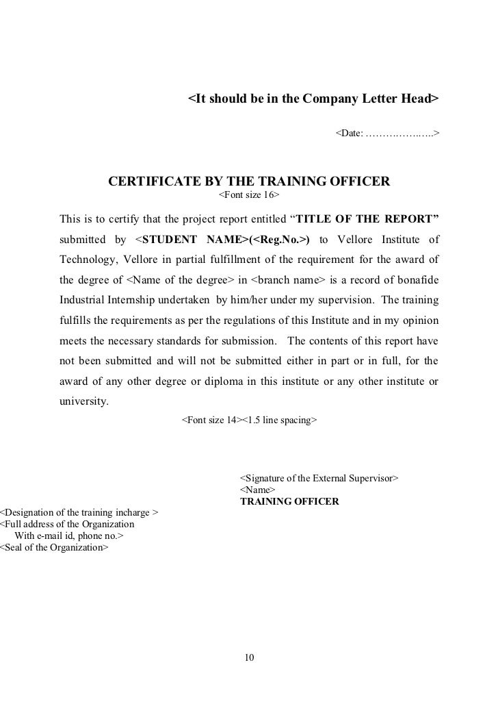 Inplant training certificate model idealstalist inplant training certificate model yelopaper Gallery