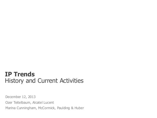 IP Trends History and Current Activities December 12, 2013 Ozer Teitelbaum, Alcatel Lucent  Marina Cunningham, McCormick, ...