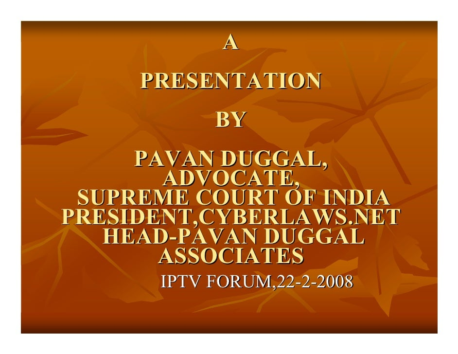 IPTV IN INDIA SOME LEGAL PERSPECTIVES