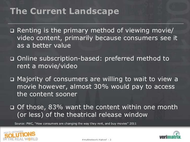 The Current Landscape    Renting is the primary method of viewing movie/     video content, primarily because consumers s...
