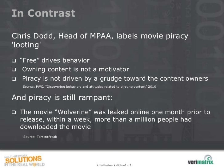 """In ContrastChris Dodd, Head of MPAA, labels movie piracylooting   """"Free"""" drives behavior    Owning content is not a moti..."""