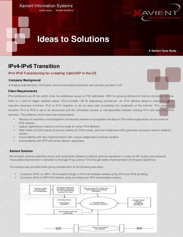 Xavient Information Systems Great Ideas … Simple Solutions Ideas to Solutions A Xavient Case Study IPv4 IPv6 Transitioning...