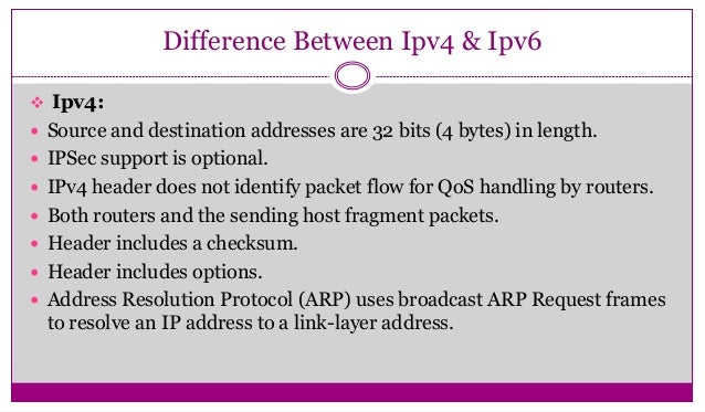 difference between ipv4 and ipv6 You might wonder how ipv6 differs from ipv4 this table allows you to quickly look up specific functions and compare their use in each internet protocol.