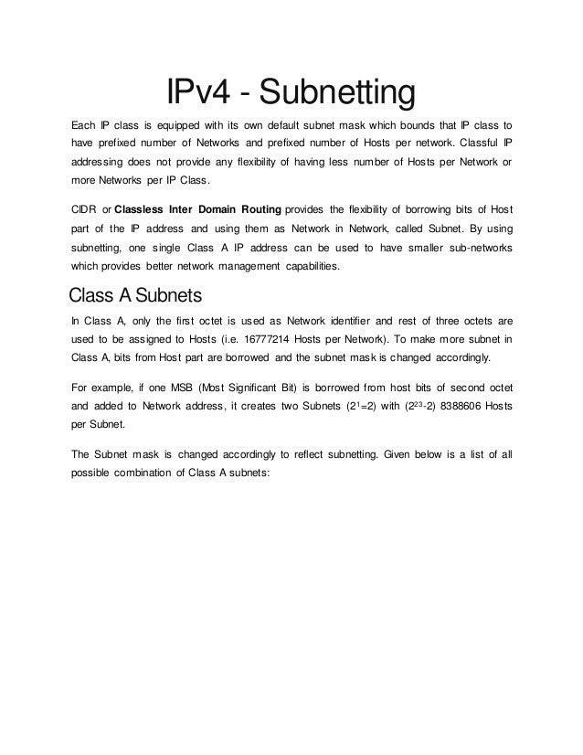 IPv4 - Subnetting Each IP class is equipped with its own default subnet mask which bounds that IP class to have prefixed n...