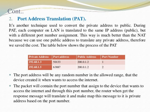 Cont.. 2.  Port Address Translation (PAT).  It's another technique used to convert the private address to public. During P...