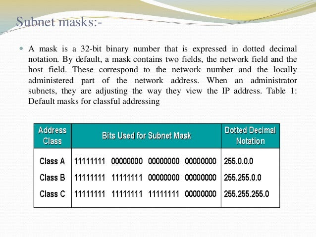 Subnet masks: A mask is a 32-bit binary number that is expressed in dotted decimal  notation. By default, a mask contains...