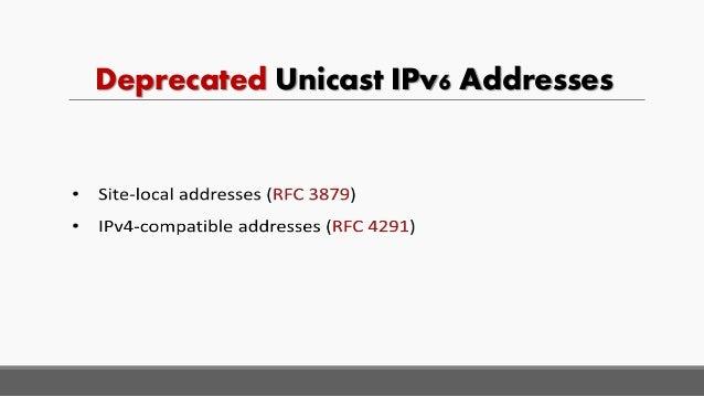 Deprecated Unicast IPv6 Addresses