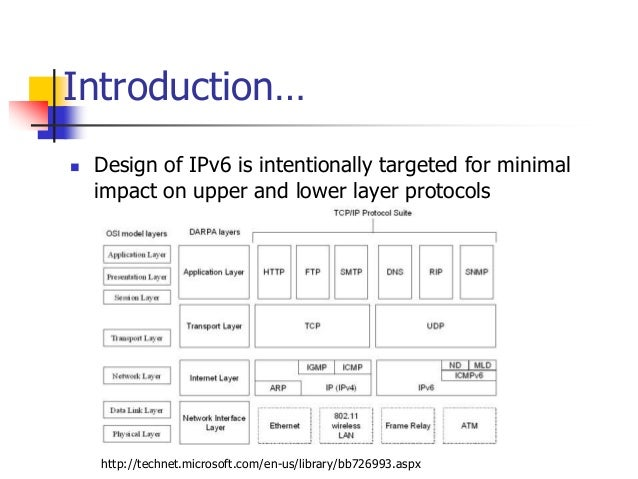 INFT3007 Introduction…  Design of IPv6 is intentionally targeted for minimal impact on upper and lower layer protocols ht...
