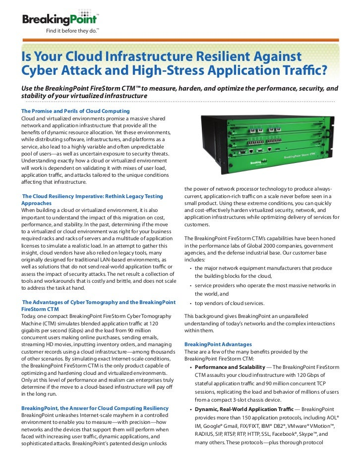 Is Your Cloud Infrastructure Resilient Against  Cyber Attack and High-Stress Application Traffic?  Use the BreakingPoint S...