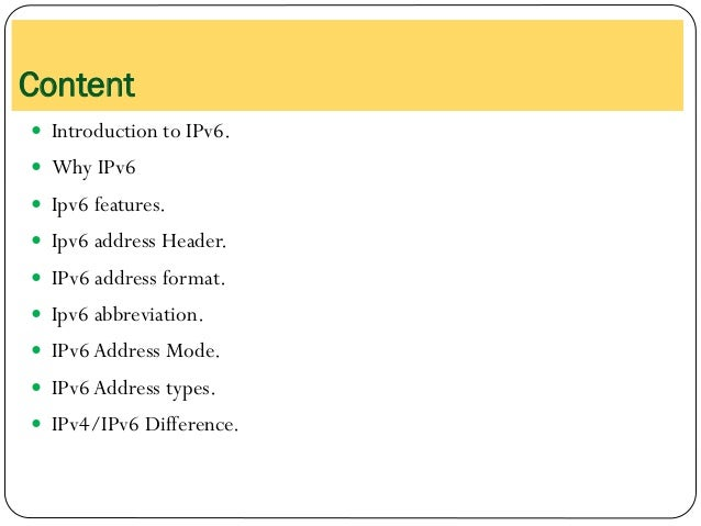 Introduction to IPv6 Slide 2