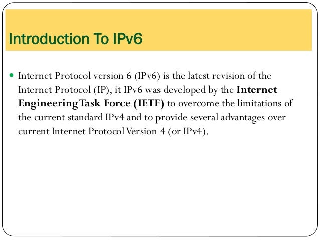 Introduction to IPv6 Slide 3