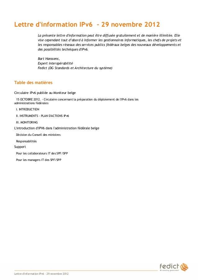 Lettre dinformation IPv6 – 29 novembre 2012                       La présente lettre dinformation peut être diffusée gratu...