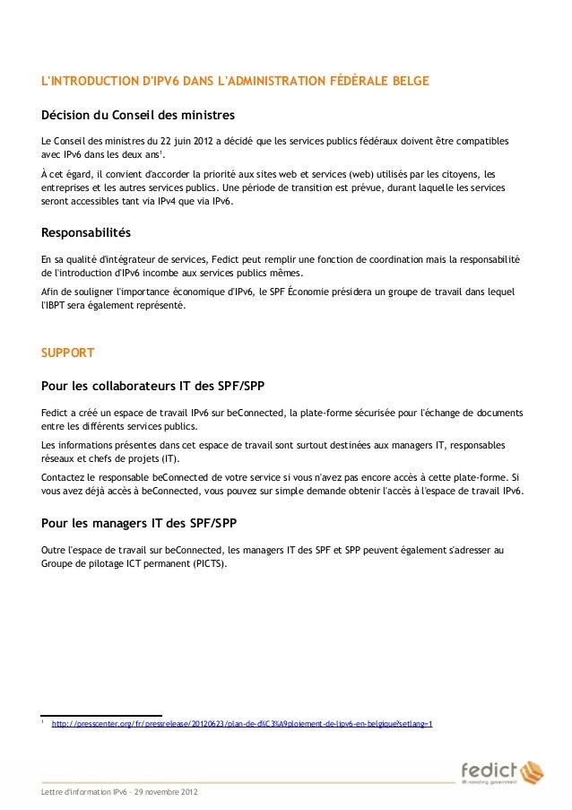 LINTRODUCTION DIPV6 DANS LADMINISTRATION FÉDÉRALE BELGE    Décision du Conseil des ministres    Le Conseil des ministres d...