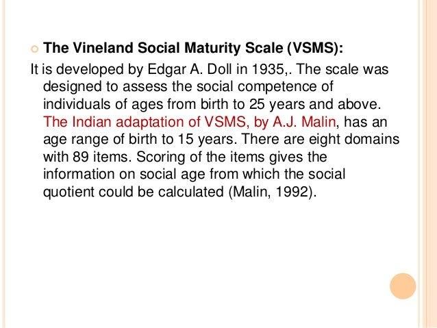 vineland social maturity scale indian adaptation pdf