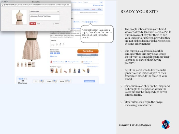 READY YOUR SITEPinterest button launches a      • For people interested in your brandpopup that allows the user to        ...