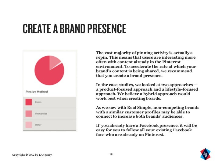 CREATE A BRAND PRESENCE                                The vast majority of pinning activity is actually a                ...