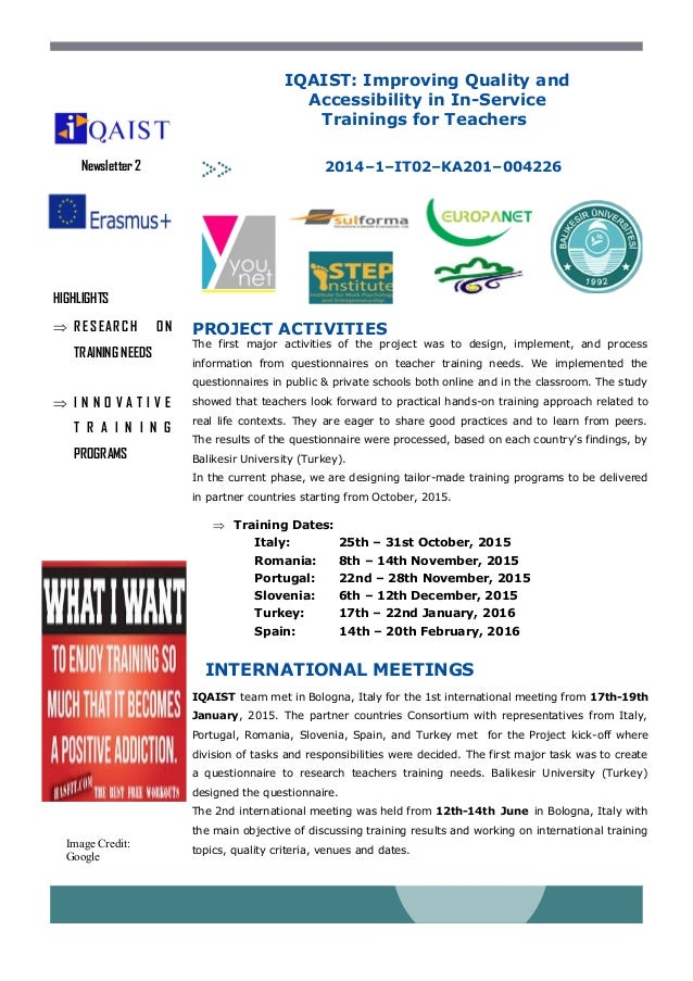 HIGHLIGHTS  RESEARC H ON TRAINING NEEDS  I N N O V A T I V E T R A I N I N G PROGRAMS 2014–1–IT02–KA201–004226Newsletter...