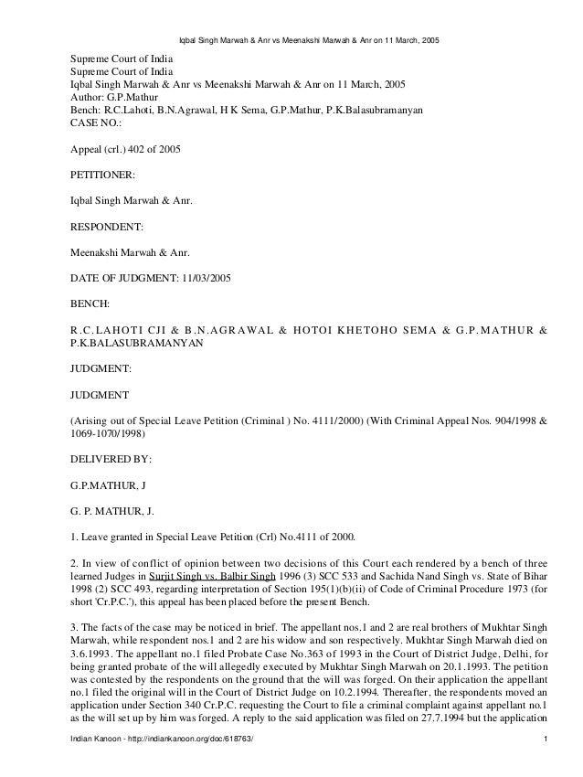 Iqbal Singh Marwah & Anr vs Meenakshi Marwah & Anr on 11 March, 2005Supreme Court of IndiaSupreme Court of IndiaIqbal Sing...