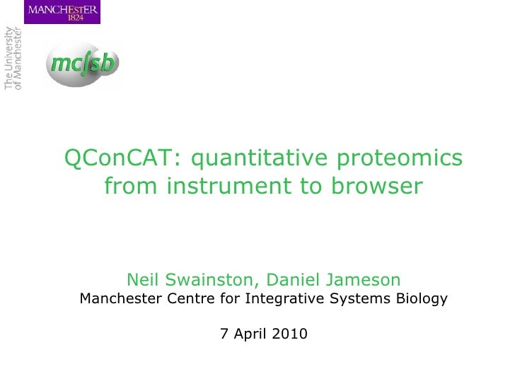 QConCAT: quantitative proteomics from instrument to browser <ul><li>Neil Swainston, Daniel Jameson </li></ul><ul><li>Manch...