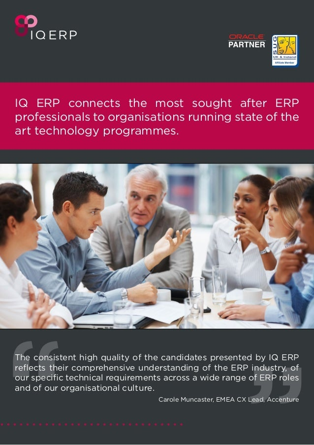IQ ERP connects the most sought after ERP professionals to organisations running state of the art technology programmes. T...