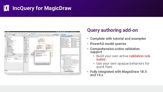 IncQuery for MagicDraw Query authoring add-on • Complete with tutorial and examples • Powerful model queries • Comprehensi...