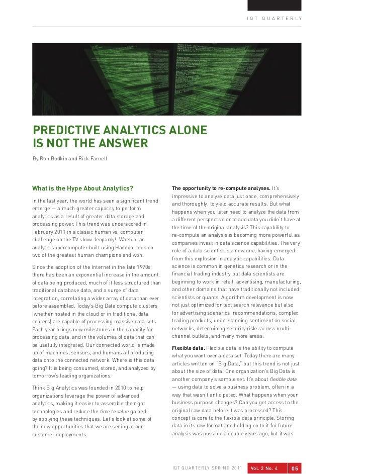 Predictive Analytics & Hadoop: InQTel Qtrly Spr 2011 Think Big Bodkin & Farnell