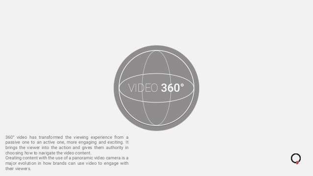 VIDEO 360° 360° video has transformed the viewing experience from a passive one to an active one, more engaging and exciti...