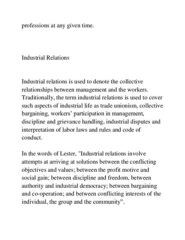 INDUSTRIAL RELATIONS MBA