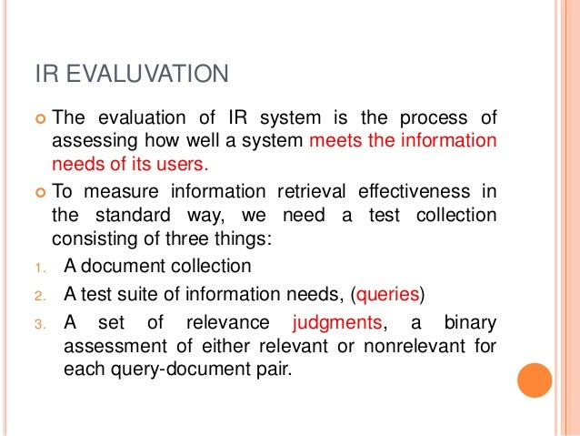 an introduction to information retrieval Next: 5 organization of the up: 1 introduction previous: 3 past, present, and 4 the retrieval process at this point, we are ready to detail our view of the.